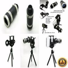 Harga Hemat Universal Mobile Phone Telescope 8X Optical Zoom Teropong Lensa Zoom Tripod Hitam