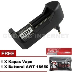 Jual Universal Quick Charger Safe And Reliable Desktop Single Slot Baterai Vape Rokok Eletrik Awt 18650 18350 18500 And Competyble Semua Batre Vape Dan Rokok Elektrik Hitam Free Batery Awt 18650 Kapas Cotton Bacon Lengkap