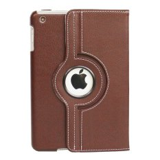 Universal Rail Rotation PU Leather Folding Stand Flip Case Cover Skin Protector for iPad - Cokelat