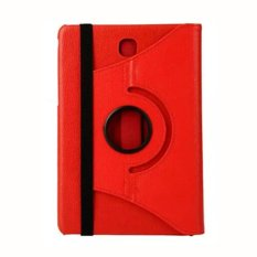 Universal Rail Rotation PU Leather Folding Stand Flip Cover for Samsung Galaxy Tab A T350 - Merah