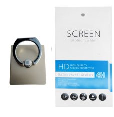 Universal Ring Stand (firmly stick on phone / phone cover case) + Gratis 1 Clear Screen Protector for Samsung Galaxy Grand Quattro