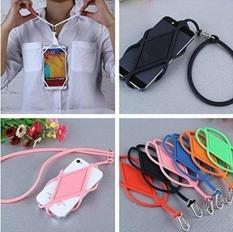 Universal Silicone Ponsel Case Penutup Holder Sling Lanyard Necklace Wrist Strap untuk Ponsel (Pink)-Intl