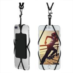 Universal Silicone Phone Case Cover Holder dengan Sling Lanyard Kalung Tali Pergelangan Tangan untuk Ponsel (Hitam)-Intl