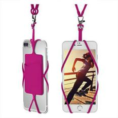 Universal Smartphone Case Cover Holder Lanyard Necklace Wrist Strap with ID Card Slot (Rose Red) - intl