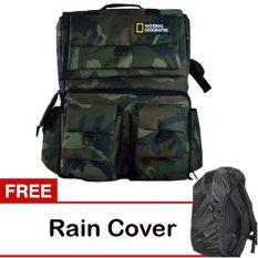 Universal Tas Kamera Ransel Natgeo Army + Free Rain Cover