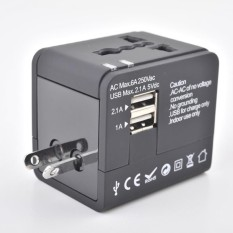 Universal Perjalanan Adaptor AC, ganda USB Pengisian Port Dinding Pengisi Daya AC Daya Legrand Indonesia Adaptor Konverter Anda EU UK Amerika Serikat/Aus Warna: hitam-Internasional