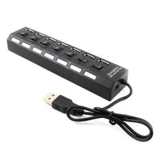 Universal USB terminal port 7 Speed 480mbps with switch Black
