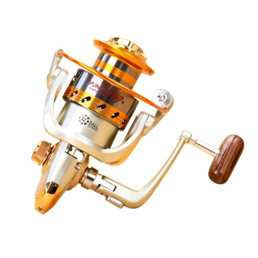 Jual Universal Yumoshi Gulungan Pancing Ef6000 Metal Fishing Spinning Reel 12 Ball Bearing Golden Antik