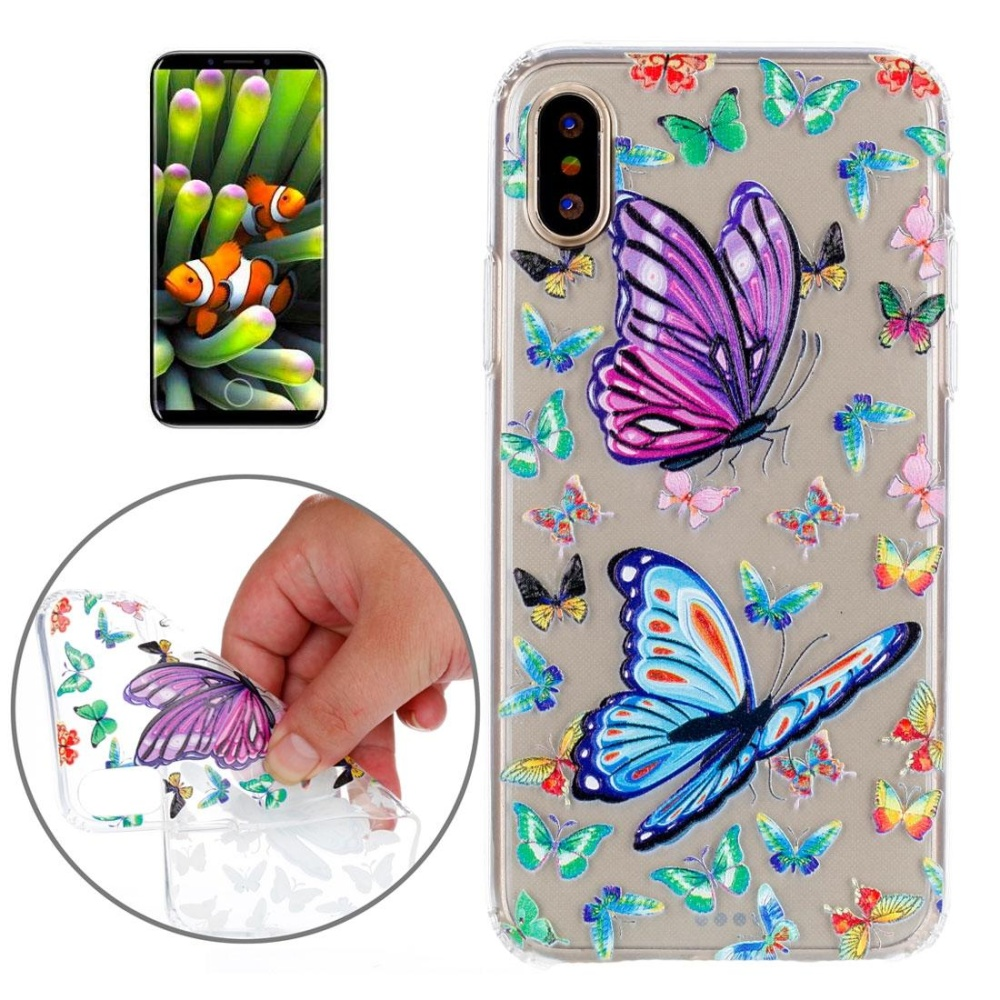 Untuk iPhone X Ponsel Kupu-kupu Pola TPU Sarung Pelindung Lembut-Intl