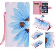 Kelas Atas Colorful Pola Bunga Matahari Kartu Slot Dompet PU Leather Stand Flip Case Cover untuk Huawei P8 Lite/P8 Mini Case-Intl