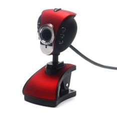 USB 2.0 HD Webcam Kamera Web Cam dengan Mikrofon MIC LED untuk PC Laptop Merah-Intl