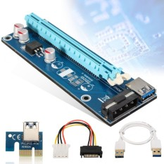 USB 3.0 PCI-E Express 1x to 16x Extender Riser Card Adapter SATA Power Cable - intl