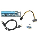Usb 3 Pci E Pci E Express Extender Riser Card Pci E 1X To 16X Adapter With Sata 15 Pin 6Pin Power Cable 60Cm Usb Cable For Bitcoin Mining Pc Desktop Laptop Intl Diskon Akhir Tahun