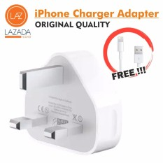 USB Adapter Apple Kaki 3 iPhone ORIGINAL ORI Kepala Charger 3 Kaki (Gratis Kabel Data Lightning for iPhone 5G/C/S 6/6S/6+/6S+
