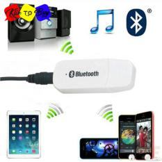 USB Bluetooth 3.5mm Stereo Audio Music Receiver Adapter For Speaker White