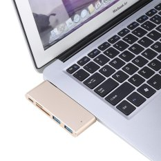 Jual Usb C 3 1 Multi Port Hub Adapter 2 Usb3 Ports Type C Pd Sd Tf Card Reader For Macbook Gold Intl Oem
