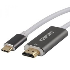 USB C untuk HDMI Kabel 6FT 4K @ 60Hz, FEMORO USB Tipe C Male (Thunderbolt 3 Kompatibel) Ke HDMI Male Kabel untuk MacBook Pro 2017/2016, Macbook 2015, Dell, HP, Galaxy S8/S8 Plus, Chromebook Pixel Dll-Intl
