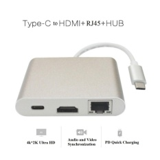 USB-C Ke HDMI + PD + RJ45 + USB3.0 Adaptor, Dukungan 100 MbpsEthernet, PD Pengisian Cepat dan 4 K Ultra HD Video Output untuk Baru MAC Buku, Chromebook dan Matebook dan Sebagainya-Internasional