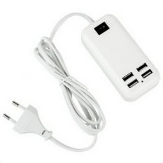 USB Desktop Charger 3A - 4 Port Charger for iPad/iPod/iPhones/Android Devices - Putih