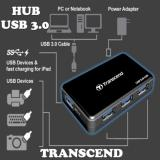 Usb Hub 4 Port Usb 3.0 Transcend + Power Adapter For Notebook / PC & Usb Devices & Fast Charging For Smartphone / Tablet / Ipad - Hitam - Gratis Kabel ...