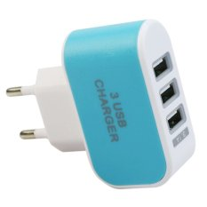 USB Kepala Charger 3 Port EU Plug 3 Ampere 3 in 1 - Biru