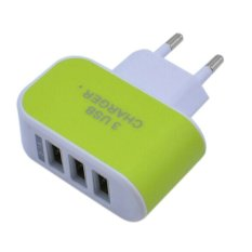 USB Kepala Charger 3 Port EU Plug 3 Ampere 3 in 1 - Hijau