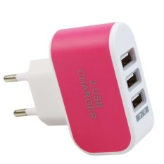 USB Kepala Charger 3 Port EU Plug 3 Ampere 3 in 1 - Pink