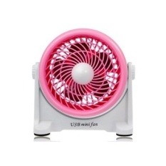 USB Mini Rotary Desktop Fan (Pink)-Intl