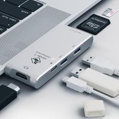 Tipe USB С/Adaptor HDMI 4 K Keluaran Hub, 2-Port USB 3.0, lulus Tipe-c Melalui Kartu Pembaca untuk MacBook Pro 2016/2017, google Chromebook dan Jendela Laptop Tipe C-Perak-Internasional