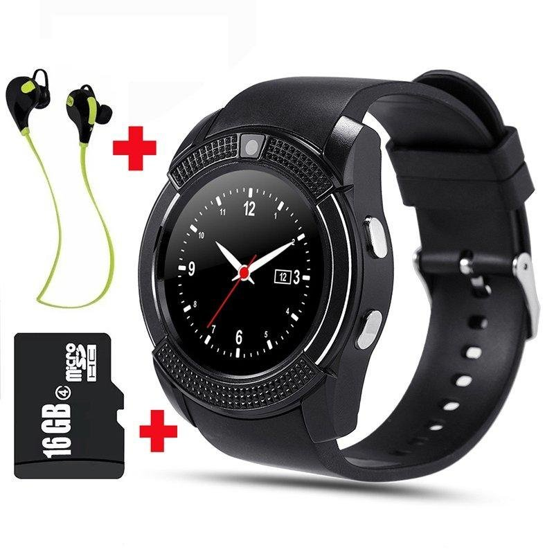 Jual V8 Smart Jam Clock Bluetooth Dengan 16 Gb Memory Card Dan Bluetooth Headset Intl Smart Watches Grosir