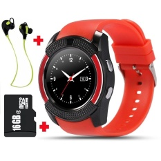 V8 Smart Watch Clock Bluetooth with 16GB Memory Card and BluetoothHeadset   - intl