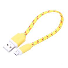 VAKIND 0.2 m GPE dikepang kain mikro dan kabel sinkronisasi Data USB untuk Samsung, untuk MI, untuk HUAWEI, untuk HTC (kuning) - International