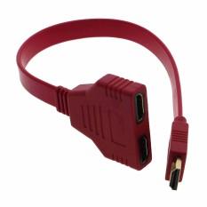 Vanker Pendek HDMI Datar 1 untuk 2 Kabel Cabang Male Ke Female M/F Keluar