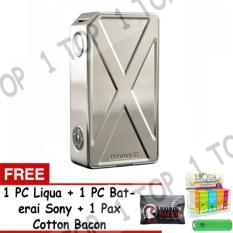 Vape Tesla Invader 3 Mod Starter Kit - Stainless Steel + FREE 1 PC Liqua + 1 PC Baterai + 1 Pax Cotton Bacon