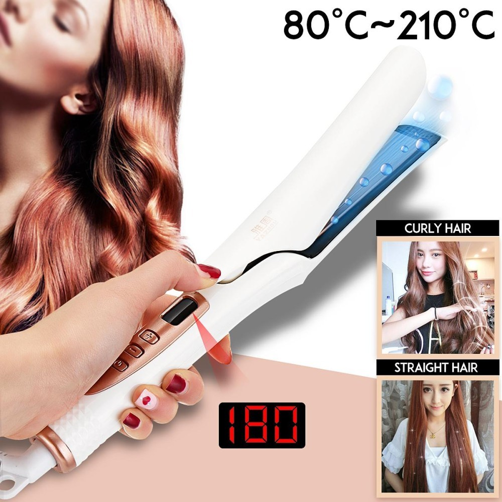 Vapor Steam Ceramic Flat Iron Hair Straightener Curly Curler Dry/Wet LCD Display - intl