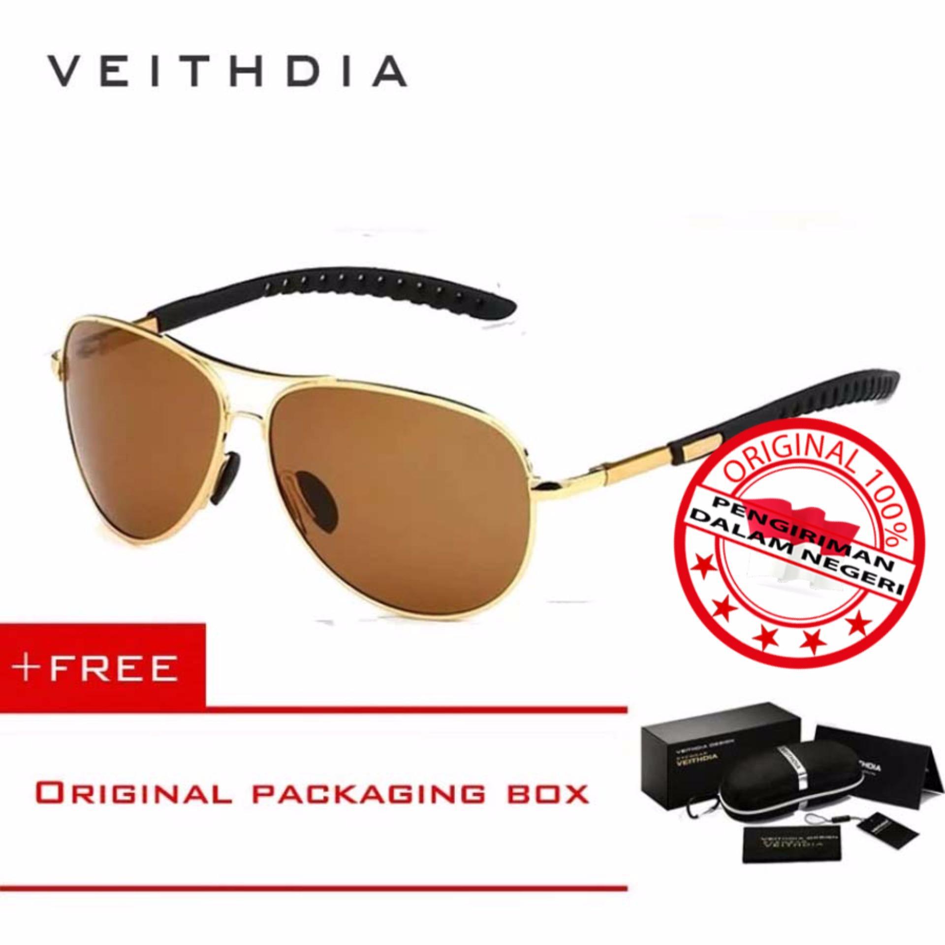 Veithdia Kacamata Pria Hitam Aluminium Sport Dan Travel Elegant Mirrored Uv400 Polarized Sunglasses 3088 Free Kotak Hardcase Diskon Indonesia