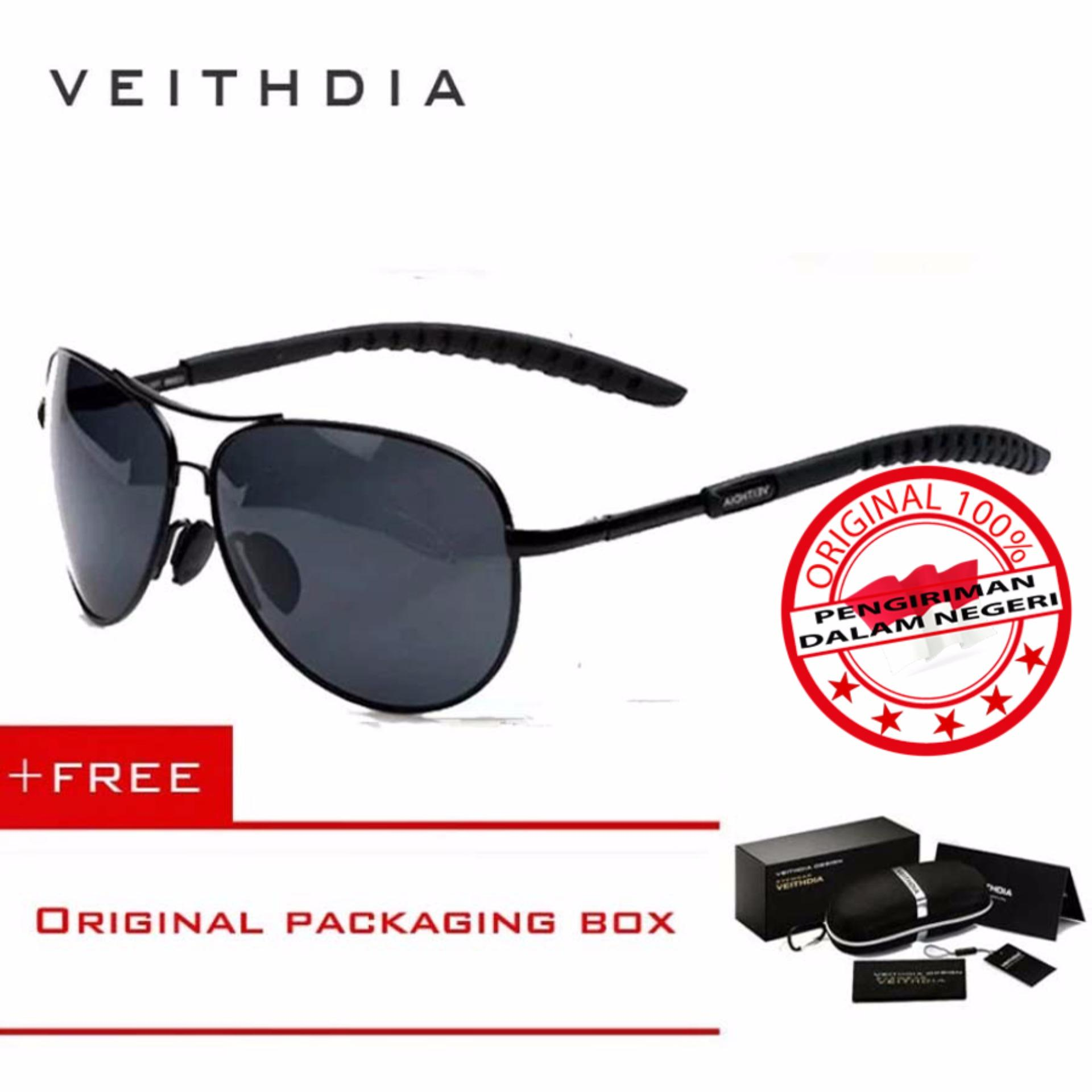 Jual Beli Veithdia Kacamata Pria Hitam Aluminium Sport Dan Travel Elegant Mirrored Uv400 Polarized Sunglasses 3088 Free Kotak Hardcase