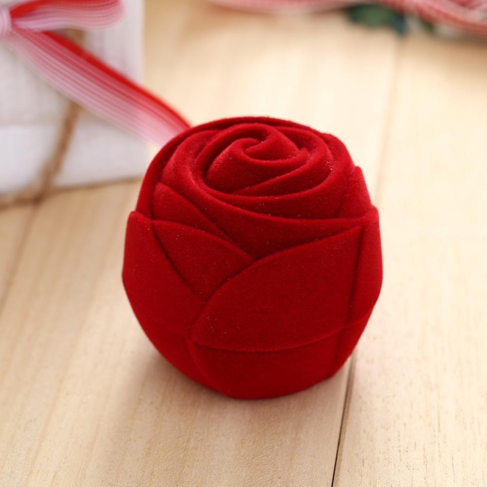 Velvet Red Rose Keterlibatan Pernikahan Earring Perhiasan Tampilan Penyimpanan Kotak Hadiah-Internasional