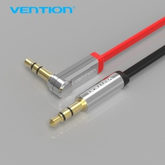 Vention 3.5mm Kabel Audio Jack Ke Jack 90 Derajat Sudut Kanan AUX Flat Kabel untuk