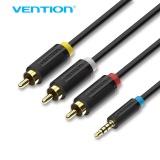 Review Vention 3 5Mm Untuk 3 Rca Adaptor Kabel Audio 1 5 M 2 M Tinggi Pria Berkualitas Jack Untuk Android Tv Box Speaker Ipod 1 5 M Intl Tiongkok