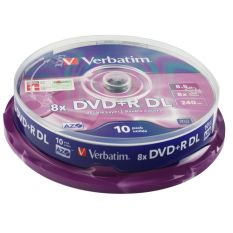 Verbatim 8.5gb 8x Dvd+r Double Layer Matt Silver 10 Pack Spindle - 43666 By Cmart Computer.