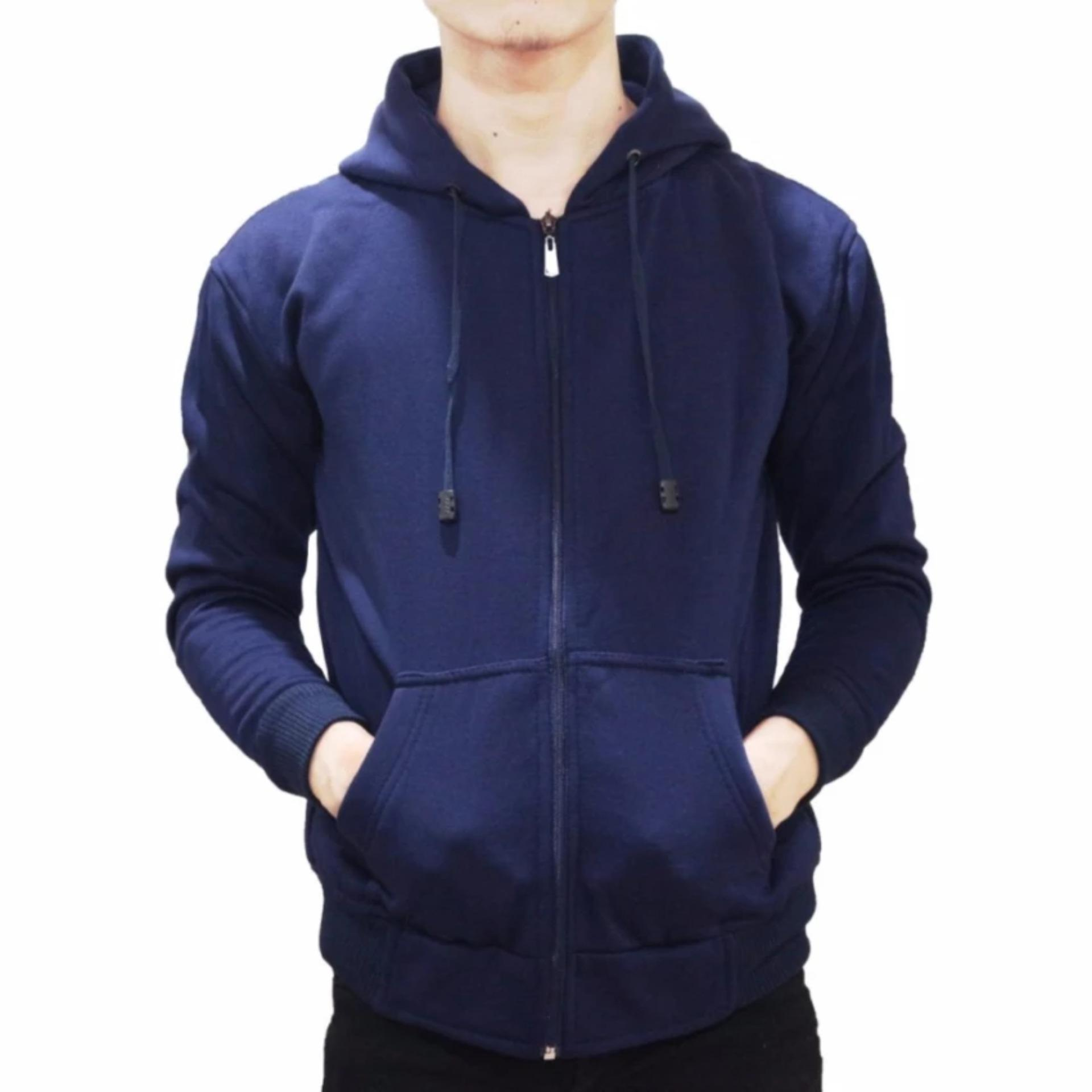 VERICHI - Jaket Sweater Hoodie Pria Zipper Polos Bahan Fleece 5242e8d789