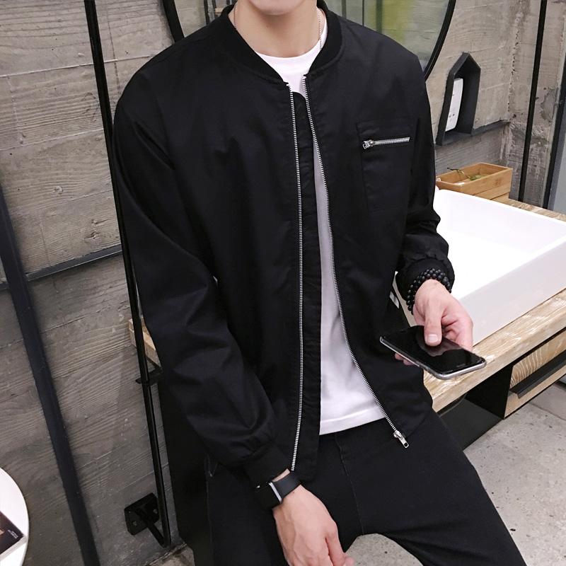 Beli Versi Korea Baru Musim Gugur Slim Jaket Pria Jaket Hitam Online Murah