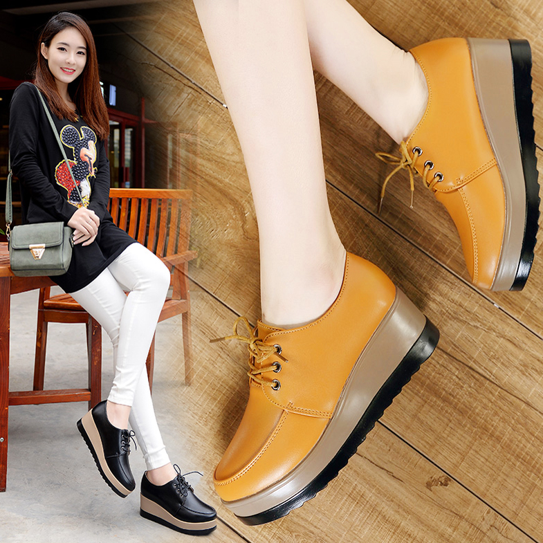 Iklan Sepatu Kulit Alas Tebal Model Sekolah Wanita Gaya Korea Kuning Beludru Kuning Beludru
