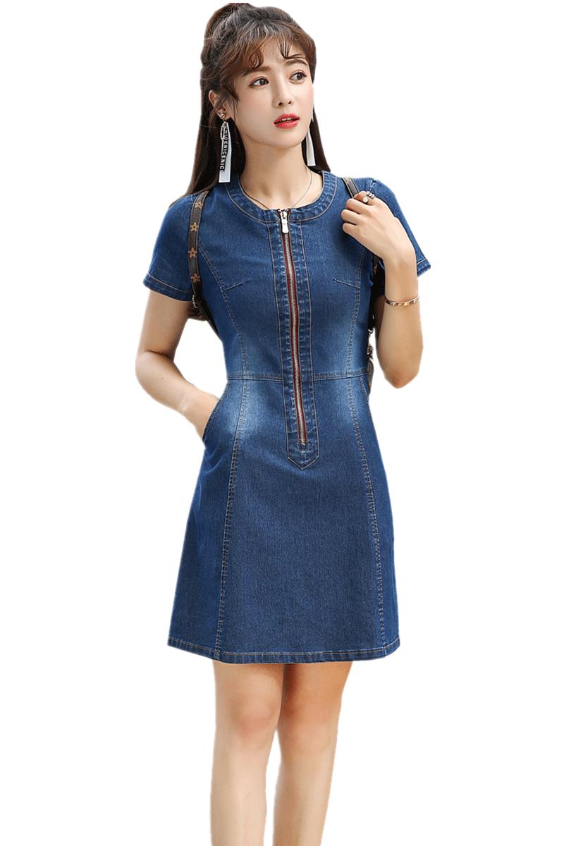 Review Versi Korea Dari Stretch Slim Ukuran Besar Rok Gaun Denim Biru Baju Wanita Dress Wanita Gaun Wanita Tiongkok
