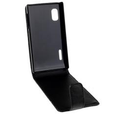 Vertikal Flip Magnetik Snap Leather Case untuk LG Optimus L5/E610 (Hitam)