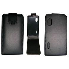 Vertical Flip Magnetic Snap Leather Case for LG Optimus L5 / E610(Black) - intl