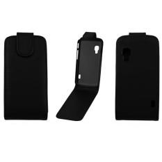 Vertical Flip Magnetic Snap Leather Case for LG Optimus L5 II / E460(Black) - intl