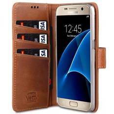 Vetti Kerajinan Asli Kulit Folio Penyangga Jenis Buku Case untuk Samsung Galaksi S7-Cokelat Wax Kulit-Internasional