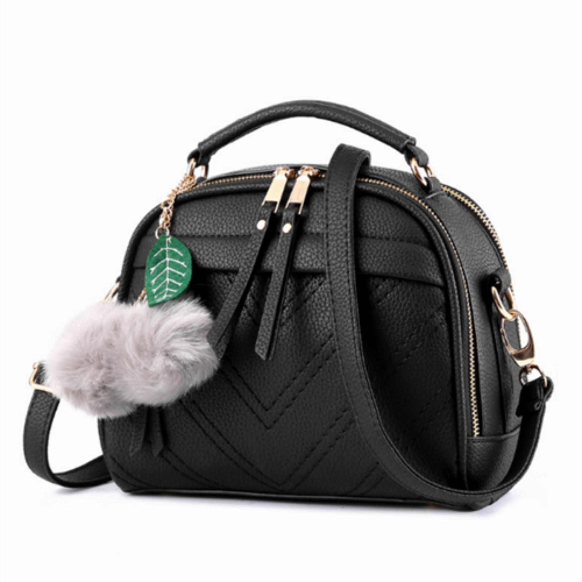 Vicria Tas Branded Wanita With Pompom - High Quality PU Leather Korean Elegant Bag Style BB2073